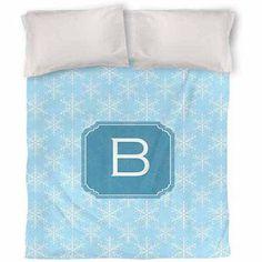 Thumbprintz Snowflake Monogram Duvet Cover, Blue