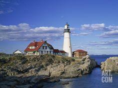 Portland Head Lighthouse on Rocky Coast at Cape Elizabeth, Maine, New England, USA Photographic Print by Rainford Roy at Art.com