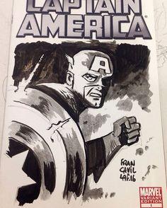 CAP AMERICA by Francesco Francavilla  #BostonComicCon #Commissions #sketchcover