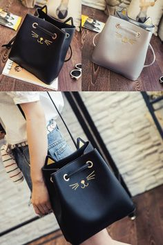 Youshine - Cat Face Embroidered Cross Body Bucket Bag