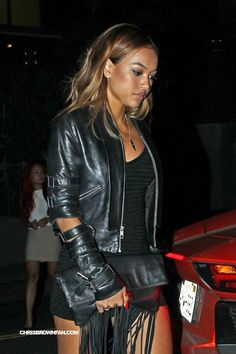 Full sized photo of photofull: Photo Check out the latest news and gossip on celebrities and all the big names in pop culture, tv, movies, entertainment and more. Karrueche Tran, Golden Hair, Chris Brown, Pop Culture, Photo Galleries, Leather Jacket, Chic, Celebrities, My Style