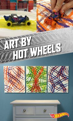 Think outside the brush! Create awesome art with your kids using Hot Wheels cars dipped in paint.