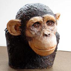 Paper Mache Chimp Bust