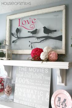 Valentines Day Decorations - mantle day decorations mantle Inspired Ways To Use Old Windows Deco Dyi, Window Art, Window Ideas, Window Frames, Window Picture, Picture Wall, Window Glass, Picture Frames, Old Windows