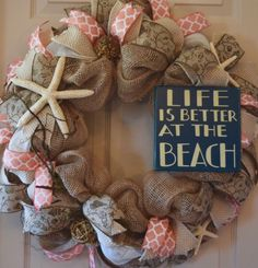 Nautical Navy and Yellow Burlap and Mesh Wreath; Beach Wreath; Shore Wreath; Beach House Wreath; Shore House Wreath; Summer Wreath by ChewsieCreations on Etsy