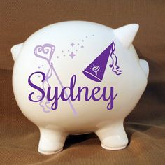 Personalized Piggy Bank Princess Piggy Bank with Vinyl by LEVinyl, $35.00