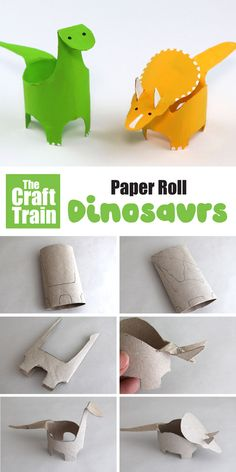 Toilet Roll Dinosaurs Dinosaur craft from a paper roll. Make the cutest cardboard dinosaurs using paper rolls and our printable template. You can make both a Triceratops and a Diplodocus! The post Toilet Roll Dinosaurs appeared first on Paper Ideas. Toilet Paper Roll Crafts, Paper Crafts For Kids, Cardboard Crafts, Diy For Kids, Fun Crafts, Preschool Crafts, Decor Crafts, Ocean Crafts, Craft With Paper