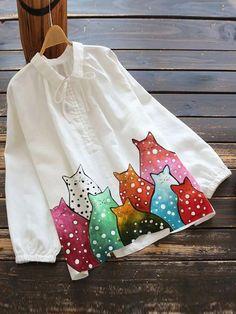 Shirts & Tops, Short Sleeve Linen Shirt, Floral Print Shirt, Vintage Cotton, Vintage Shirts, Printed Cotton, Outfit, Fabric Painting, Flower Prints