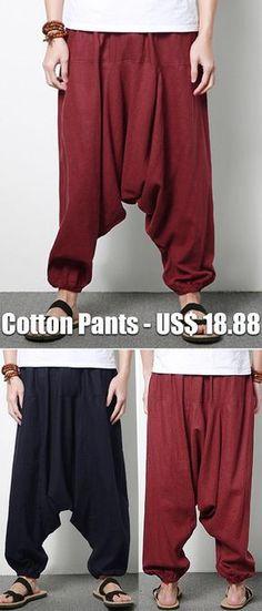 5550d0dcb55c 【US$ 18.88】47%OFF--Mens Casual Loose Cotton Linen Harem