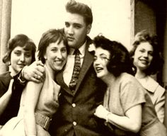 April 19, 1959 - Bad Nauheim, Goethestr. 14, Germany  |  Elvis hosted 4 German teenagers at his home for tea, who had won this visit as part of a newspaper contest.