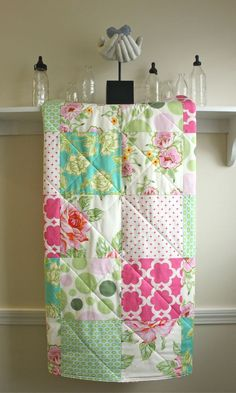 heather bailey and amy butler fabrics  Baby Quilt -  Nicey Jane - Girl Crib Quilt in Pink, Aqua, Mint, and Ivory. $98.00, via Etsy.