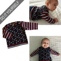 """Das Shirt Elias ist mit amerikanischem Ausschnitt, da gibt es keine Probleme beim Anziehen! Ein super süßes Teil für alle Babys...!!! Alle Schnitte gibt es auf http://www.zierstoff.com/de. Wir bieten zu den meisten Schnitten auch noch die passenden Videonähanleitungen mit an. Unser youtube Kanal heißt """"mein Zierstoff"""". Damit können auch Nähanfängerinnen große Erfolge feiern."""
