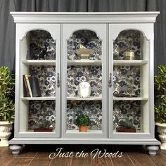 Two Makeovers From One China Cabinet - An antique white bookcase and a vintage blue buffet