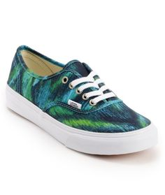Get an artistic feel in the girls Watercolor Authentic Slim shoe from Vans Shoes