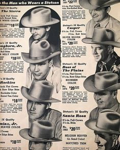 Western Hat Styles, Cowboy Hat Styles, Western Hats, Western Wear, Cowboy Spurs, Cowboy And Cowgirl, 1800s Clothing, Vintage Clothing, Traditional Tattoo Girls