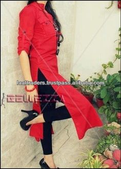 Red linen casual kurta with pockets for fashion girls.