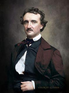 Edgar Allan Poe- photo colorized by Klimbim Edgar Allan Poe, Allen Poe, Writers And Poets, American Literature, Book Writer, Portraits, Historical Photos, Cinema, People