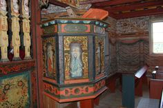 Pulpit from Vatnås church, built in 1665, Norway