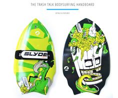 Trash Talk Artist Handboard new for Summer 2015 #Bodysurfing is an Art http://www.slydehandboards.com/collections/all/products/trash-talk-wedge-handboard-for-bodysurfing-with-gopro-attachment