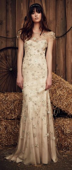 Jenny Packham Spring 2017 Lucky wedding dress in a barley hue with star-shaped, gold stitched accents and gold beading