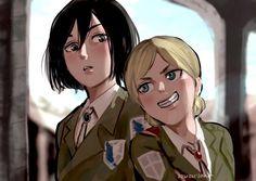 Mikasa, Attack On Titan Ships, Attack On Titan Fanart, Ymir, Fanarts Anime, Manga Anime, Snk Scan, Christa Renz, Snk Annie