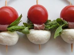 Brochettes Caprese with Prosciutto, Basil and Balsamic from A Moveable Feast