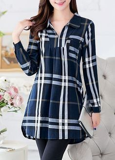 Navy Blue Long Sleeve Checkered Tunic Shirt Buy Online Womens Top and Black T-shirt Women Ladies at fashion cornerstone.  Great discounts all season