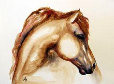 Painting - Horse Head 3 by Leyla Munteanu , Horse Head Drawing, Horse Drawings, Watercolor Horse, Watercolor Paintings, Watercolour, Horse Artwork, Cowboy Art, Equine Art, Artwork Design
