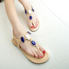 Fashion Blue Rhinestone Thong Flat Sandals