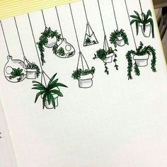Cute easy-to-draw hanging plant doodles. I'm adding these to my bullet journal planner! Bullet Journal Inspo, Bullet Journals, Doodle Drawings, Easy Drawings, Pencil Drawings, Sketch Note, Journal Entries, Journal Ideas, Hanging Plants