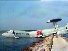 pictures  of a NATO E-3 (AWACS) that crashed in Greece. The story has it that just as the front of the plane was lifting off the ground they ingested some seagulls and the pilot tried to abort