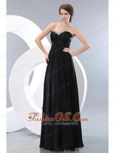 Cheap Black Empire Prom / Evening Dress Beading Sweetheart Floor-length Chiffon  http://www.fashionos.com/  http://www.facebook.com/quinceaneradress.fashionos.us  This lovely dress features a strapless with sweetheart neckline accented with beading on the top hem of ruched bodice. The floor-length skirt is lightweight and airy so that is moves beautifully with you when you walk. A hidden zip closure secures the dress in place.