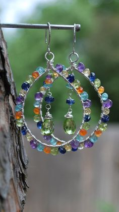 Colorful Wire Wrapped Gemstone Hoop Earrings