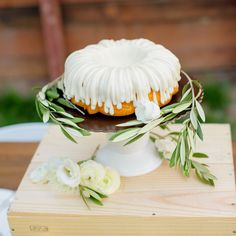Wedding cake from Nothing Bundt Cakes in Corte Madera. Decorated with white flowers and olive branches. White cake stand and wine box. flowers by photography by Weddig Cakes, Nothing Bundt Cakes, Ready For Love, Olive Branches, Napa Valley, Display Ideas, White Flowers, Dessert, Wine
