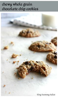 Chewy whole grain chocolate chip oatmeal cookies recipe! From healthy ...