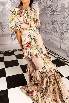 0354ae187f0c Sexy Floral Print Round Neck Puff Medium Sleeve Ruffled Joint Maxi Dress