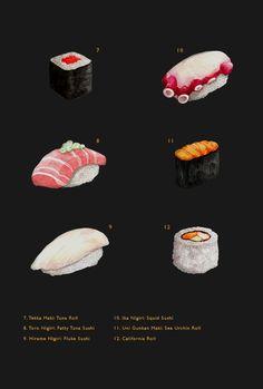 Sushi Box / Illustration & Branding by Mitchell Nelson, via Behance