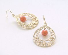 Coral and Gold Teardrop Earrings  Coral Swarovski by FiveThirty, $21.00