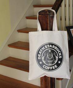Darth Vader Starbucks Tote Bag Disney Death Star Wars Coffee Disney World Disneyland Vacation Canvas Book Backpack Dark Side Rebel