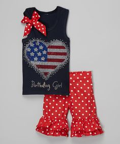Patriotic Heart Tank & Red Shorts - Toddler & Girls by Beary Basics #zulily #zulilyfinds