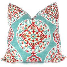 Lots of pillows!!   Turquoise and Orange Suzani Decorative Pillow Cover by PopOColor, $45.00