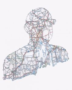 Hand-Cut Roadmap Silhouettes - Nikki Rosato creates these enigmatic silhouettes by cutting out everything but the roads on old maps and trimming them into the shape of a person. Contemporary Portrait Artists, Contemporary Art, Art Carte, Modern Metropolis, A Level Art, Old Maps, Custom Map, Gcse Art, Textiles