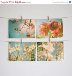 SALE 25 OFF Postcard Set Spring Flowers Nature by CassiaBeck, $6.75