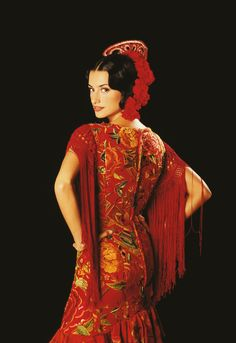 Flamenco Dress: Red, embroidery, fringe, and roses