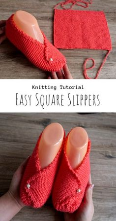 Knit Easy Square Slippers How To Make Slippers, Easy Crochet Slippers, Knit Slippers Free Pattern, Knit Headband Pattern, Crochet Baby Sandals, Beginning Knitting Projects, Beginning Crochet, Easy Knitting Projects, Baby Knitting Patterns