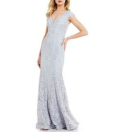 76f6a148653 Betsy   Adam V-Neck Cap Sleeve Illusion Lace Gown