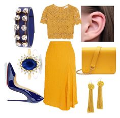 """""""yellow and blue"""" by ec-style ❤ liked on Polyvore featuring Victoria Beckham, Miguelina, Christian Louboutin, Marni, Mulberry, Effy Jewelry and Vanessa Mooney"""