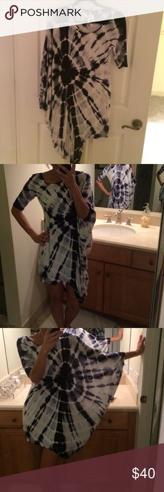 """Fun tie dye dress Fitted on left side and flowy on right side. I'm 5'6"""" will ship out after Nov. 28th Dresses Midi"""