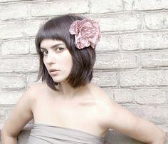 Handmade pink silk satin flower hair comb by ModaMakovera on Etsy, $44.00