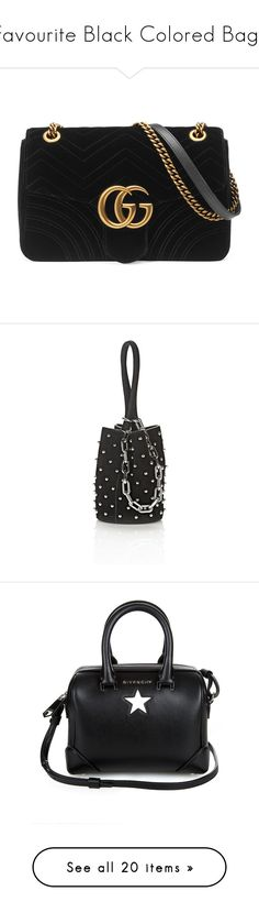 """""""Favourite Black Colored Bags"""" by kydajenner ❤ liked on Polyvore featuring bags, handbags, shoulder bags, black, chain shoulder bag, crossbody purses, givenchy purse, chain strap purse, studded purse and clutches"""